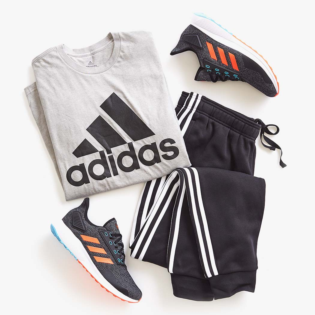 adidas sweatpants, tshirt, and sneakers