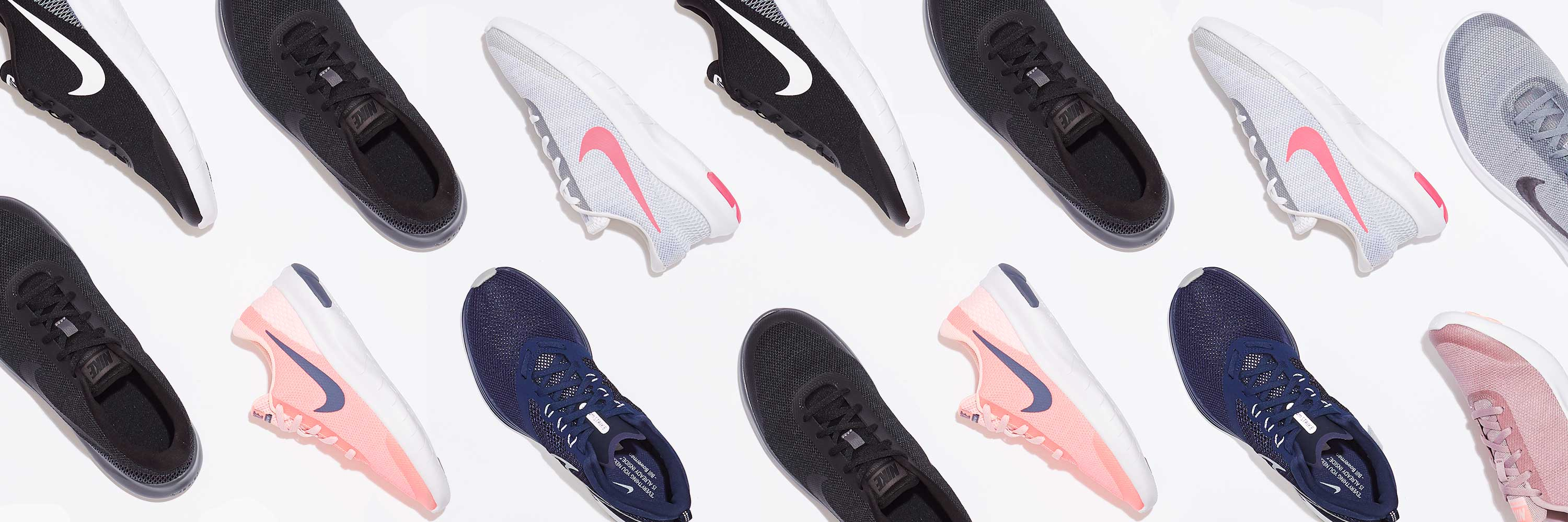an assortment of nike shoes