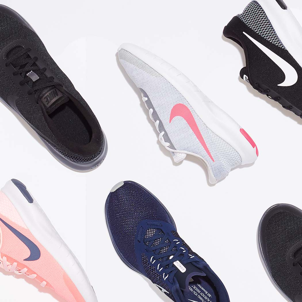 an assortment of nike athletic shoes