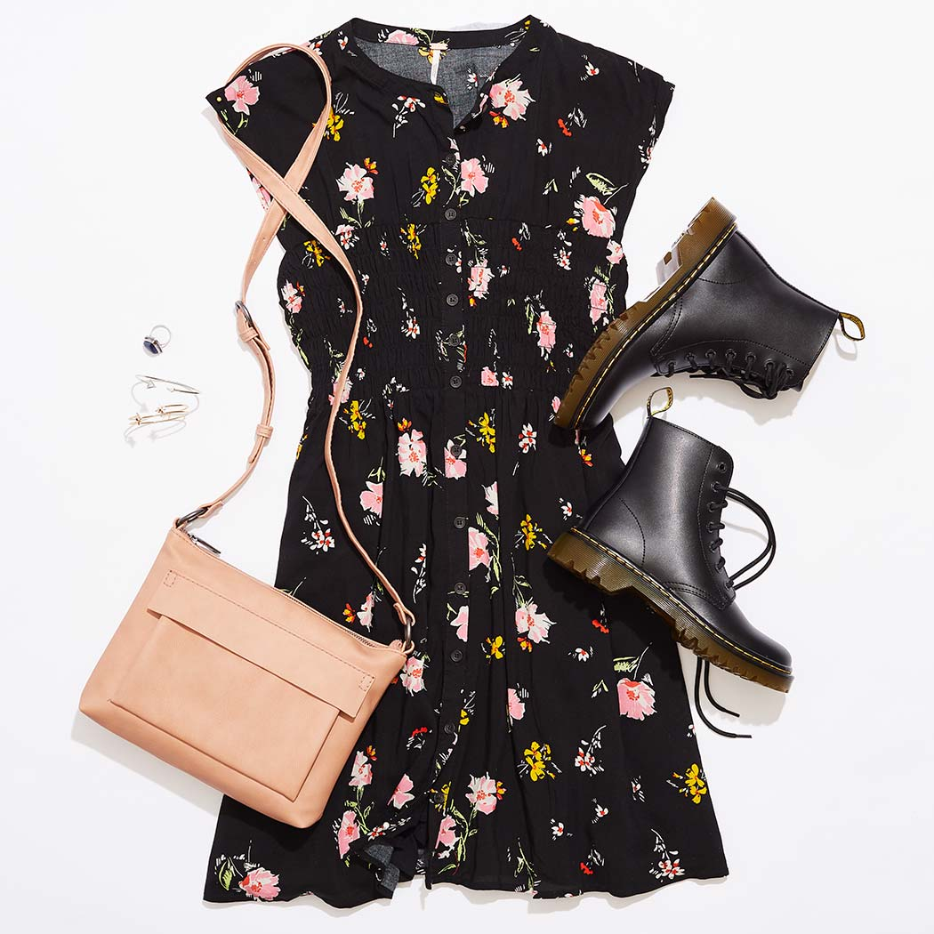 cute womens outfit styled with a pair of Dr Martin boots