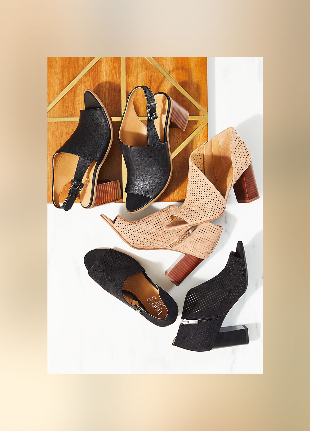 Assorted peep toe shoes