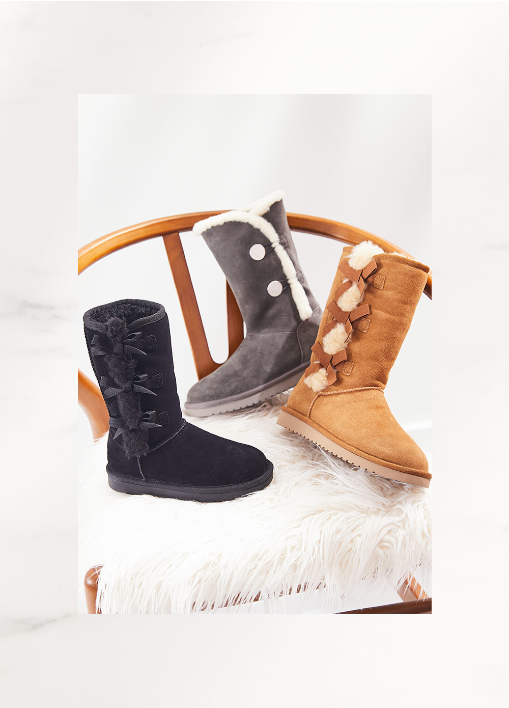 assorted fleece lined boots