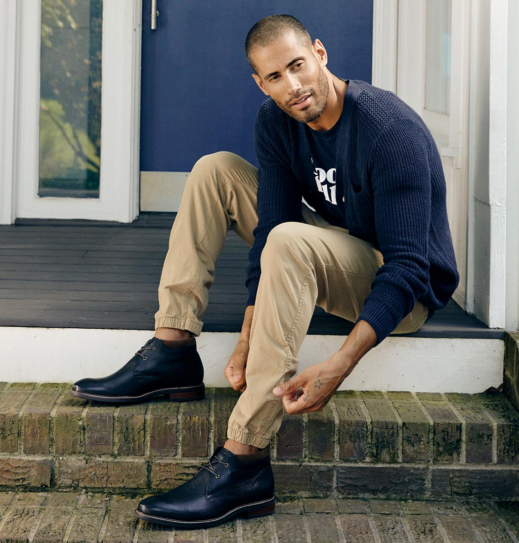man wearing a pair of timberland chukkas boots