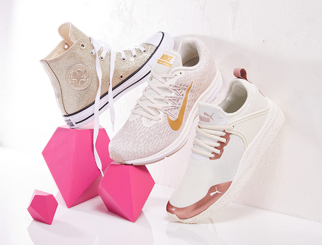 metallic trimmed converse, nike, and puma sneakers