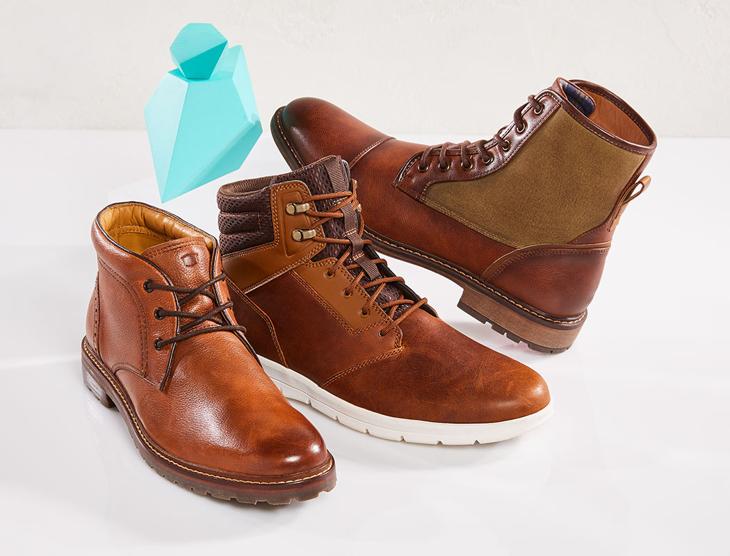 assorted mens florsheim, timberland, and madden boots