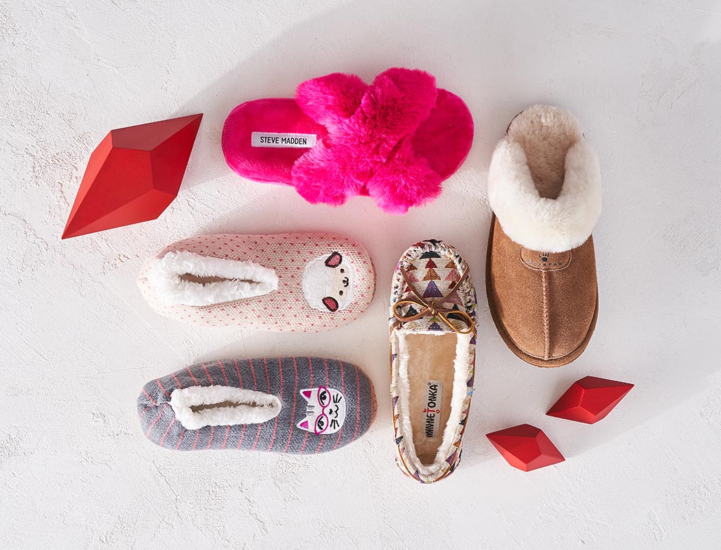 assorted furry slippers
