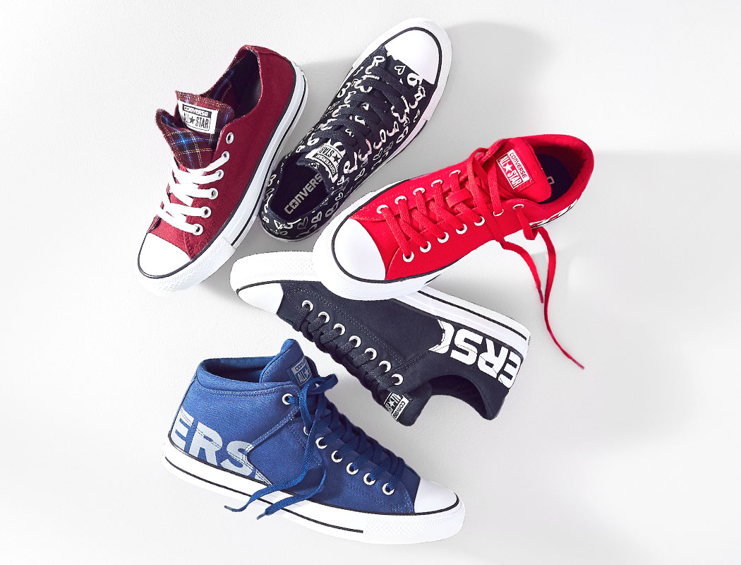 an assortment of mens converse
