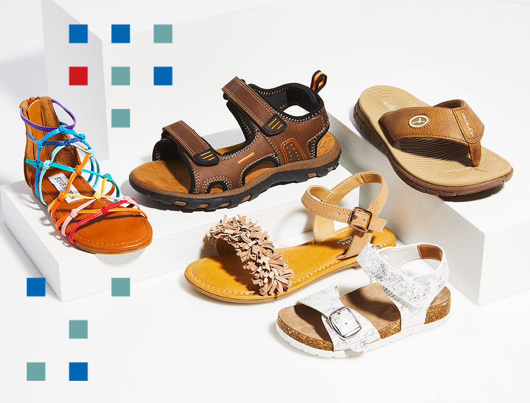 an assortment of all kids shoes from sneakers to sandals