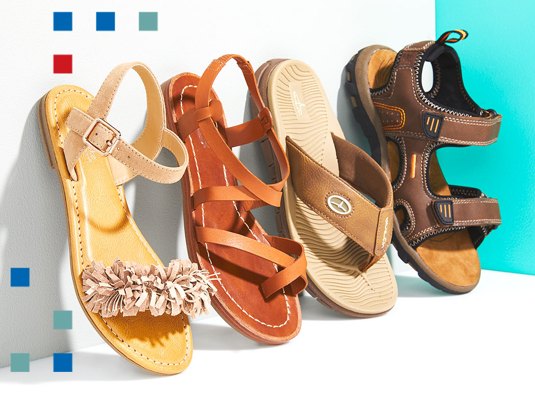 an assortment of kids sandals