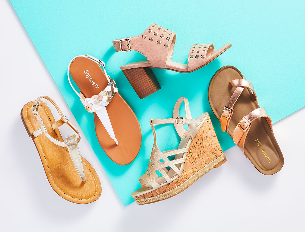 an assortment of womens sandals