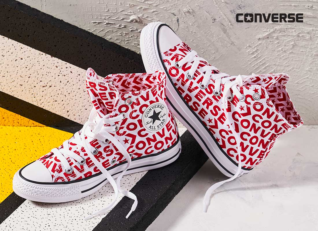 red and white hightop converse
