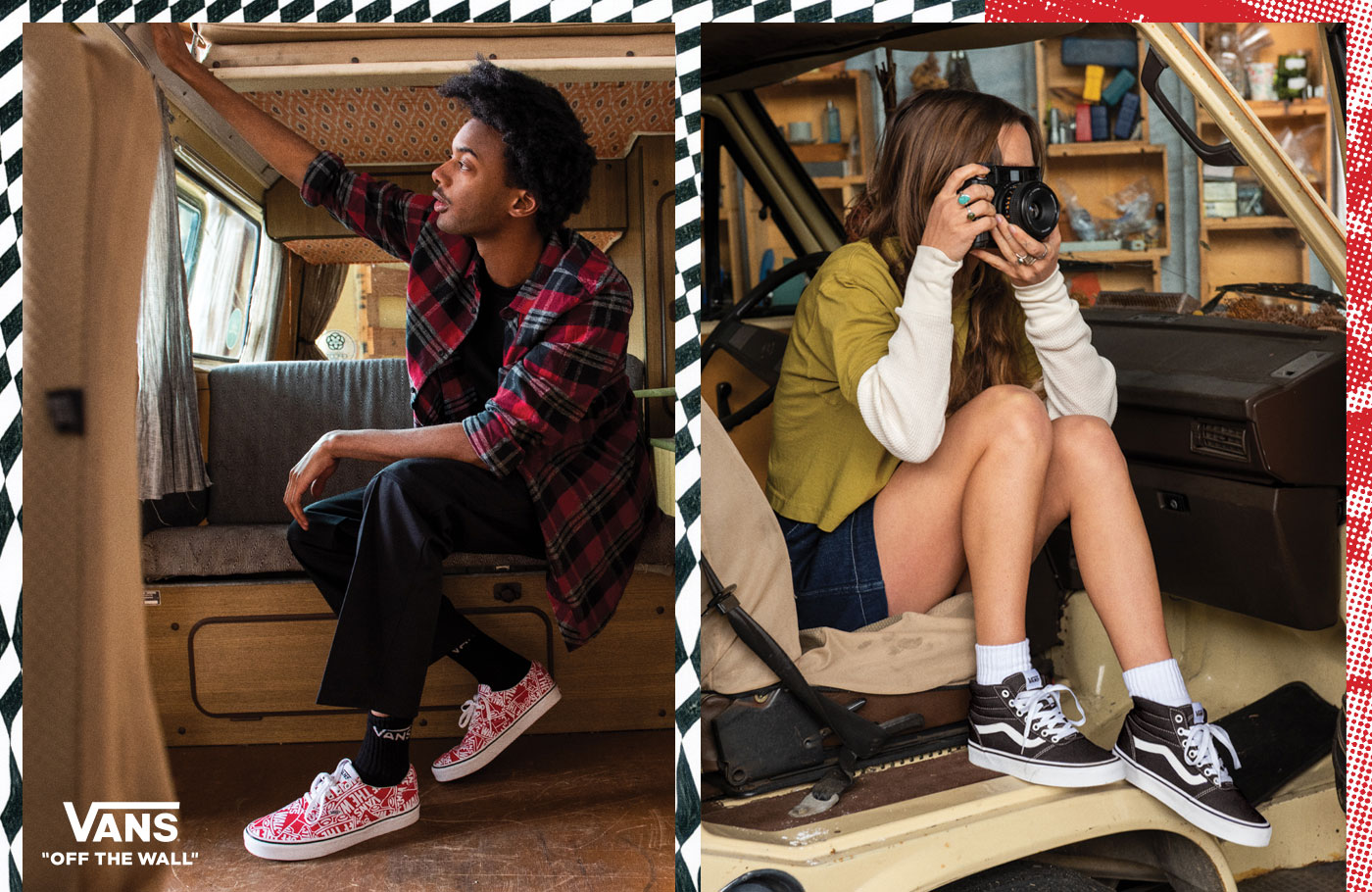 casual man and women wearing vans sneakers