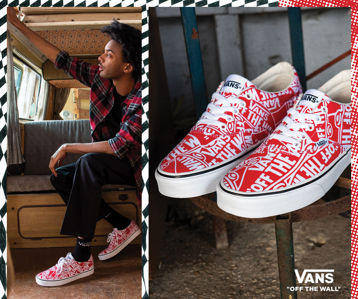 hip young man wearing red patterned vans sneakers