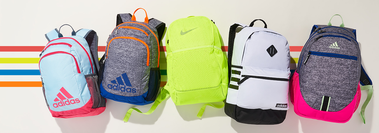 assorted adidas and nike backpacks