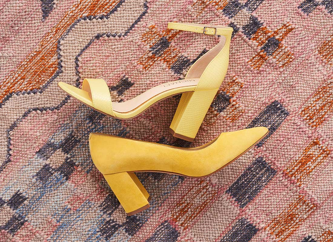 yellow michael by michael shannon block heels