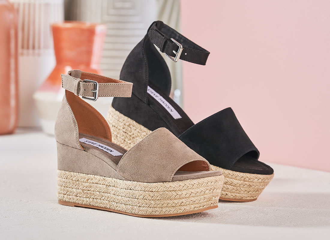 brown and black suede steve madden espadrilles