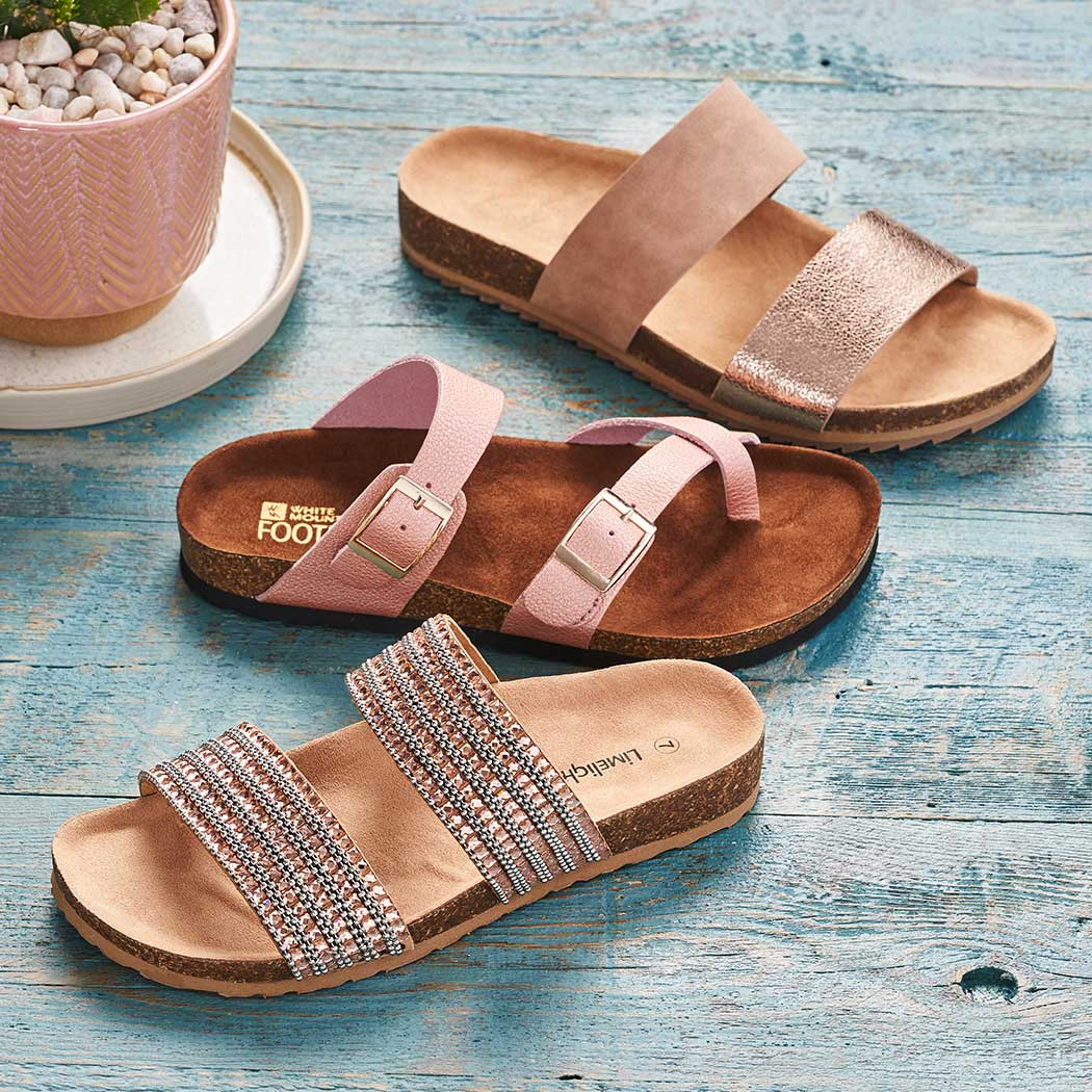 limelight and white mountain footbed sandals