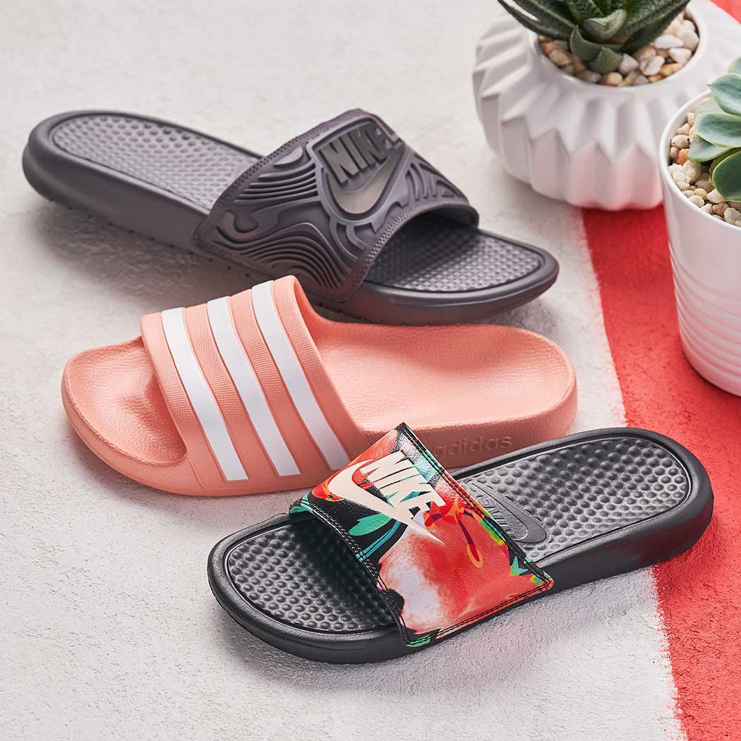 nike and adidas athletic slides