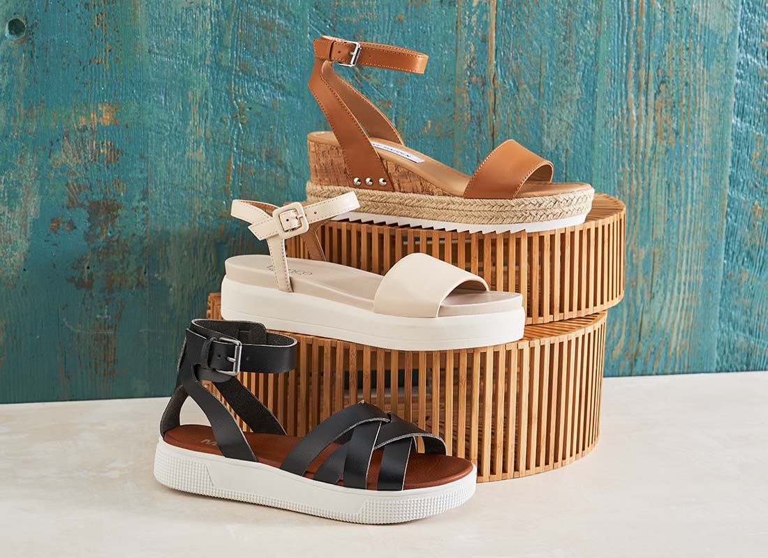 black, nude, and brown platform shoes for women