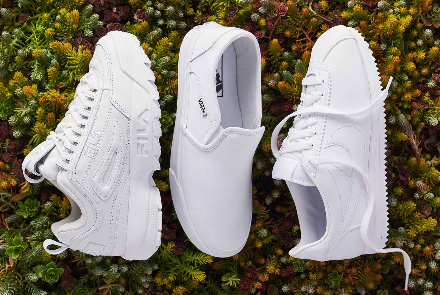 white nike, vans, and fila athletic sneakers