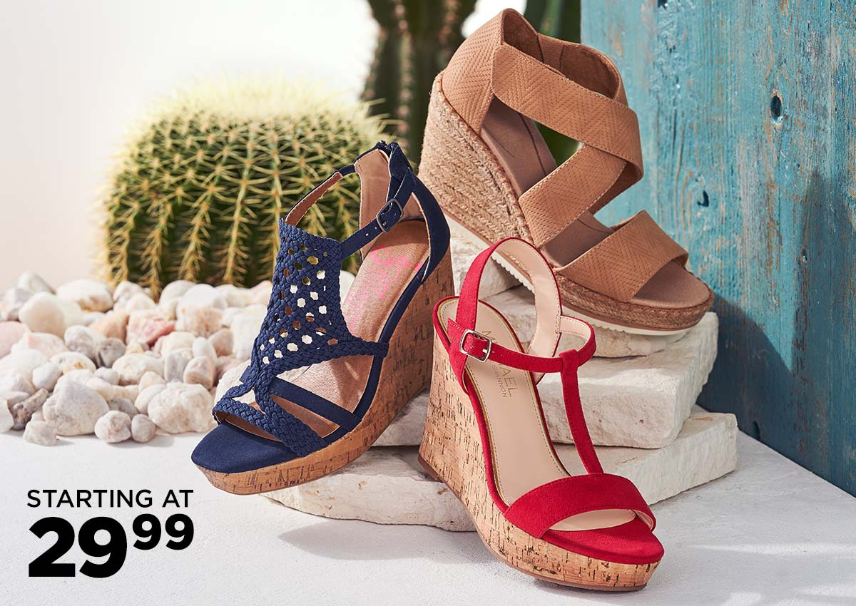 assorted wedge sandals starting at $29.99