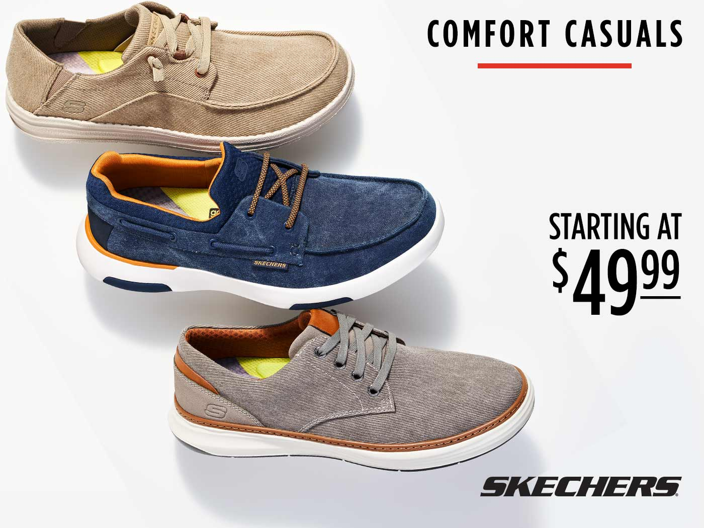 assorted mens casual skechers starting at $49.99