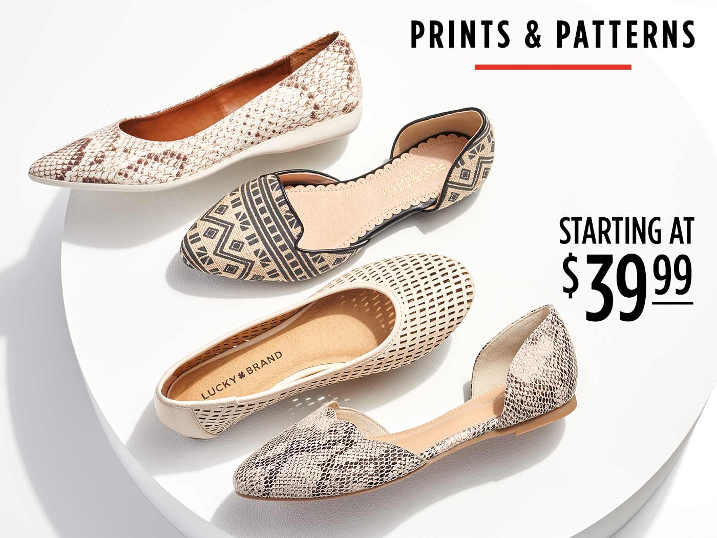assorted womens flats starting at $39.99